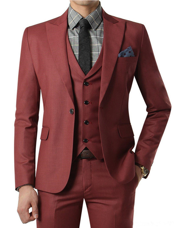 2018 red Wedding Suits With Pants Mens Tuxedos Grooms Black