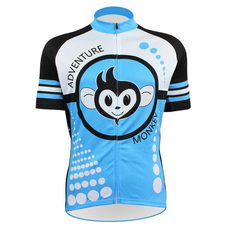 ФОТО 17 Cute Monkey Pattern Men Summer 2017 Sleeve Bike new Blue Full Zipper bike jersey XS-5XL