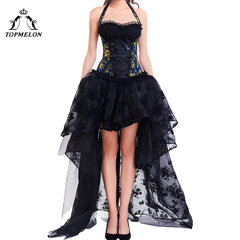 TOPMELON Corset Dress Women Bustier Steampunk Bustier Gothic Corselet Sexy Halter Lace Ruffles Floral Party Maxi Dress Ball Gown