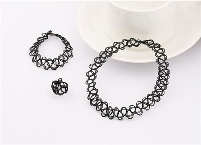 Durable 2016 New Fashion Women Collares Necklaces Black Retro Henna Vintage Elastic Tattoo Choker Stretch Free Shipping (25)