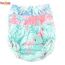 Шаровары для маленьких девочек Рисунок Фламинго хлопковые шорты для малышей Летняя Одежда для новорожденных с цветочным рисунком и подгузниками