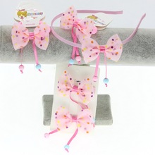 isnice Girls Hair Bands Lovely Chiffon Bow with 2 balls Accessories2019 Clips for elastic hair bands haarband