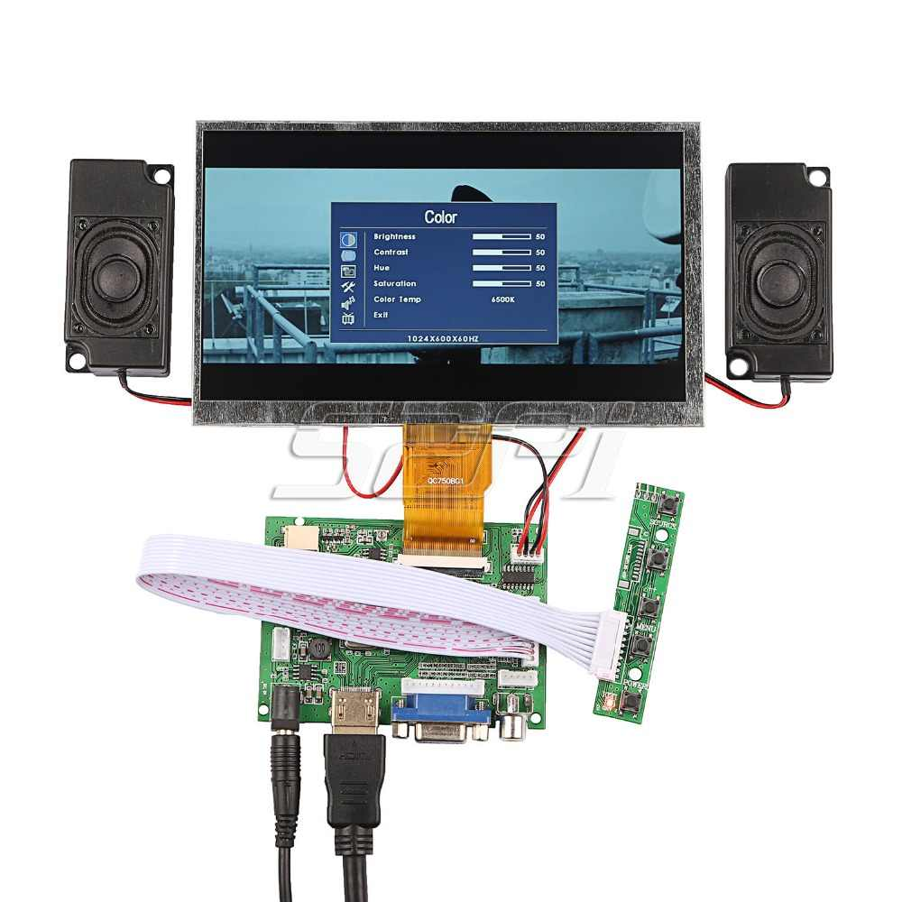 52Pi Новинка! 7 дюймов ЖК-дисплей 1024*600 Дисплей монитор Экран комплект с усилителем и 2 шт. колонки для Raspberry Pi/ПК с ОС Windows
