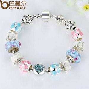 Цветной браслет BAMOER с бусинами из муранского бусин и кристаллами «LOVE», с покрытием из aliexpress серебра, подарок на Новый год, PA1871