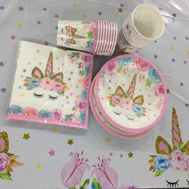 Единорог вечерние принадлежности Дети 1 день рождения скатерть с единорогом бумажная салфетка для чашек баннер топперы на свадебный торт детские украшения для душа