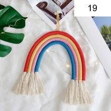 Nordic Decoration Home Kids Room Nursery Decor Handmade Knitted Hanging Braided Rainbow Tassel Pendant Wall Art