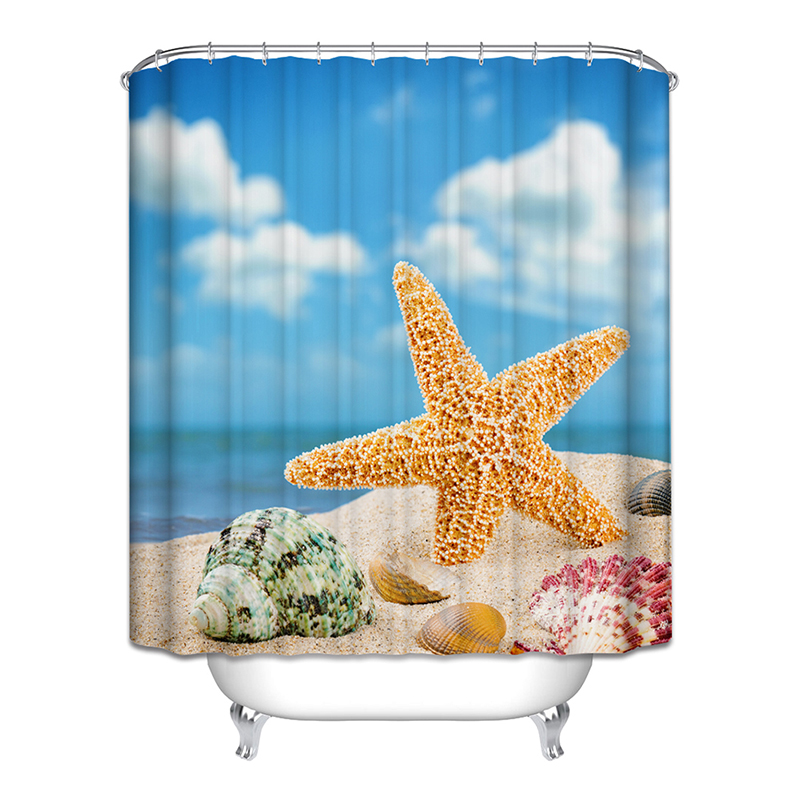 New Shower Curtain Sea Star Polyester Bathroom Curtain Douchegordijn Blauw Bathroom Supplies