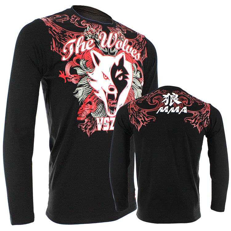 MMA Jerseys VSZAP THE WOLVES Cotton Long Sleeved T-shirt Muay Thai Hammer Fitness Comprehensive Grappling Men Autumn 3D Printin