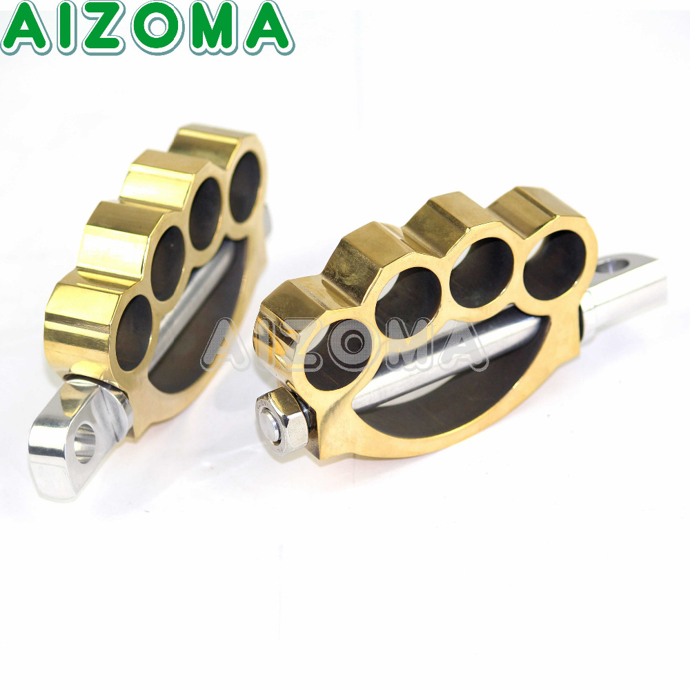 Brass Motorcycle Footrests Footpeg For Harley Touring Softail Cafe Racer Dyna Bobber Sportster 883 1200 Male Mount Foot Pegs