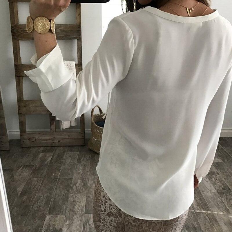 azul Sexy Encaje Manga Negro Mujer blanco De Chifón Real Tops Blanca Camisa V Con Volantes Casual Blusa Señoras borgoña Atado En Blusas Larga Cuello qOBwEY
