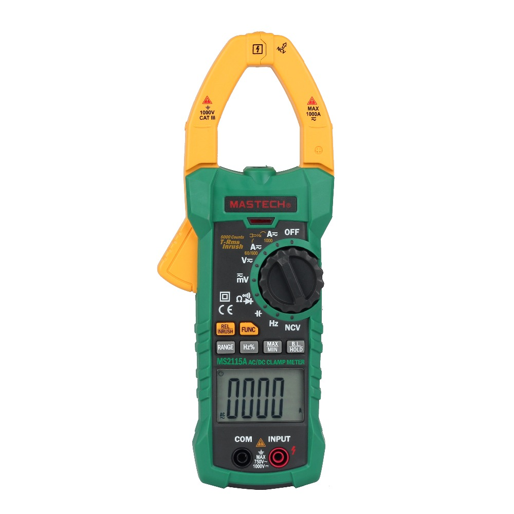 MASTECH MS2115A Digital Clamp Meter True RMS AC/DC Current 6000 Counts Voltage Resistance Capacitance NCV Tester digital dc ac clamp meters multimeter true rms voltage current resistance capacitance 1000a tester mastech ms2115a