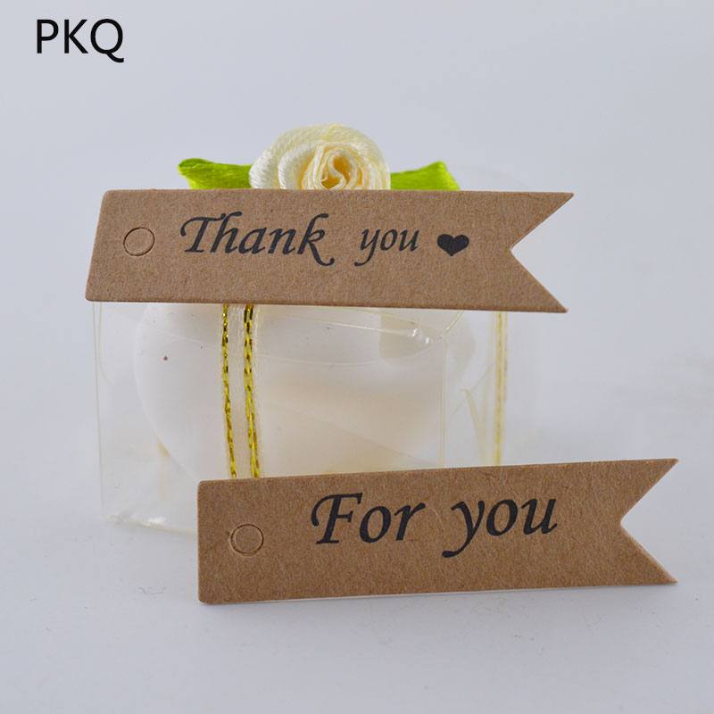 Thank You For Wedding Gift: 100pcs Handmade With Love Hang Tag Kraft Paper Thank You