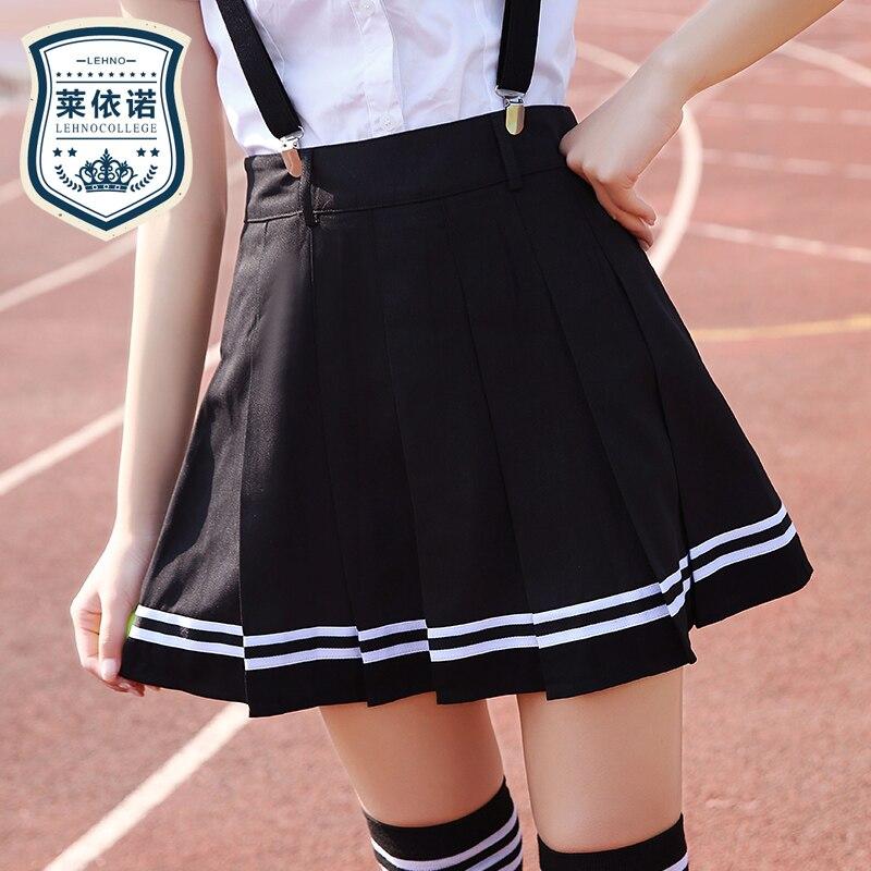 Marke LEHNO Neue Mode Mädchen Rock Schwarze Schuluniform Hochwertige Studenten Blau Rock A-linie Süße Gurt Rock Kurzen Rock