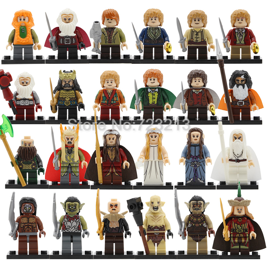 Горячие Frodo Bombur Bilbo рисунок Гэндальф thanduil Elrond Galadriel Merry Arwen орки Balin Building Block модели кирпичи наборы игрушечные лошадки