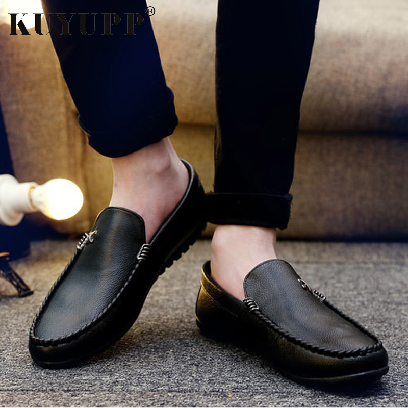 Slip On Loafers Men Casual Peas Shoes Flat Mans Soft Leather Male Footwear Summer Fashion Breathable Drive Zapatos Hombre KET613