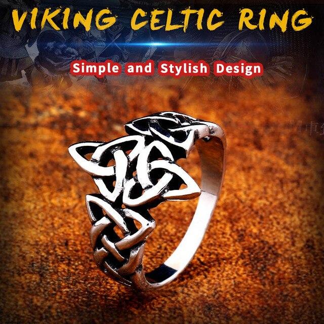 Soldat en acier celtique viking Nordise anneau en acier inoxydable populaire nature signet femmes bijoux de fiançailles 3