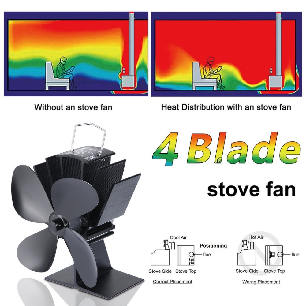 (Ship From DE)High Efficiency Durable Eco Friendly Heat Powered Stove Fan 4 Blades Stove F