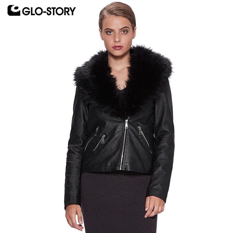 100% Wahr Glo-story 2018 Winter Leder Jacke Für Frauen Faux Leder Mantel Mit Pelz Kragen Zipper Tasche Streetwear Weibliche Jacke Wpy-6521