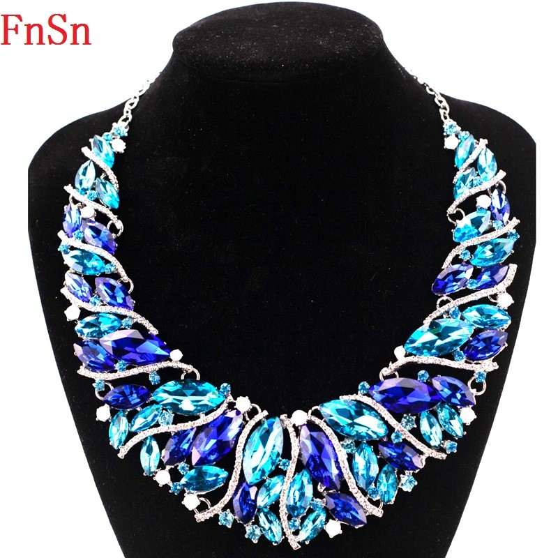 FnSn New Hot Necklace Chokers Colorful Crystal Statement