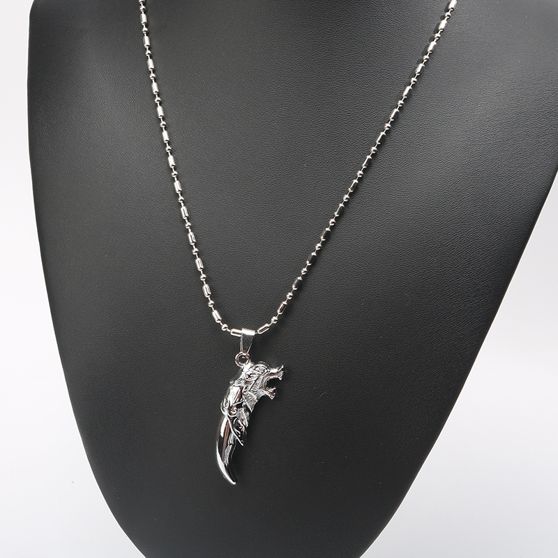 Tooth Necklace Wolf Tooth Metal Pendant Necklace 2 Colors Silver Coloured