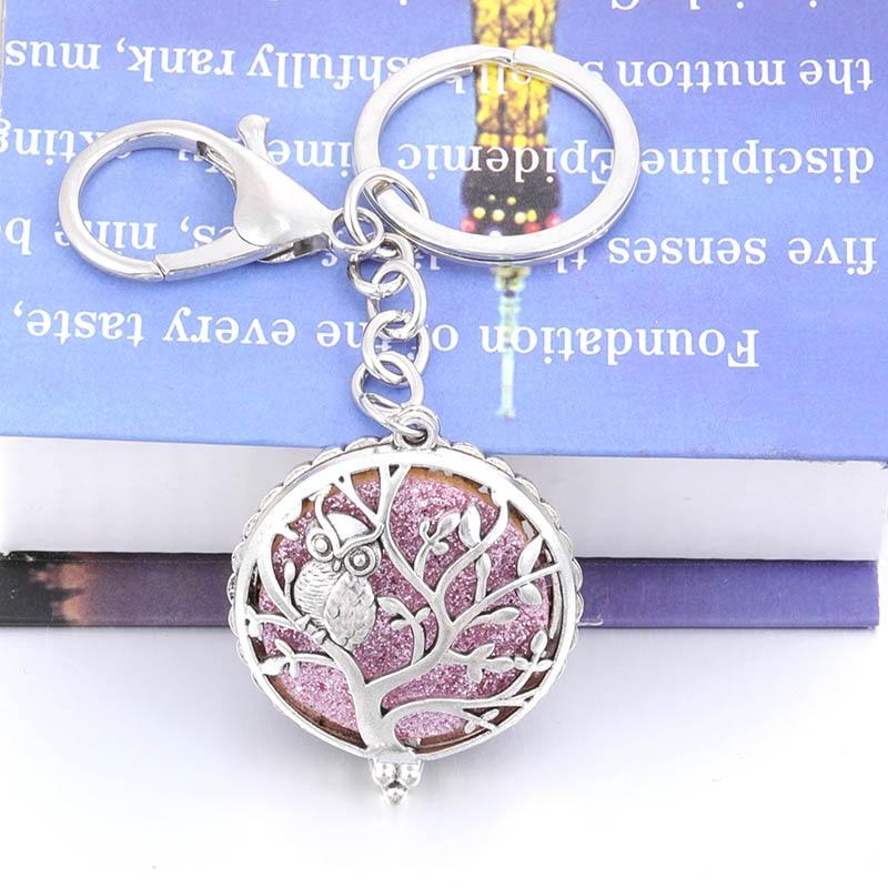 New Charm Life Tree Owl  Aromatherapy Box Can Open Pendant Keychain Female Fashion Jewelry Wholesale +2 Shiny Mat HJ733