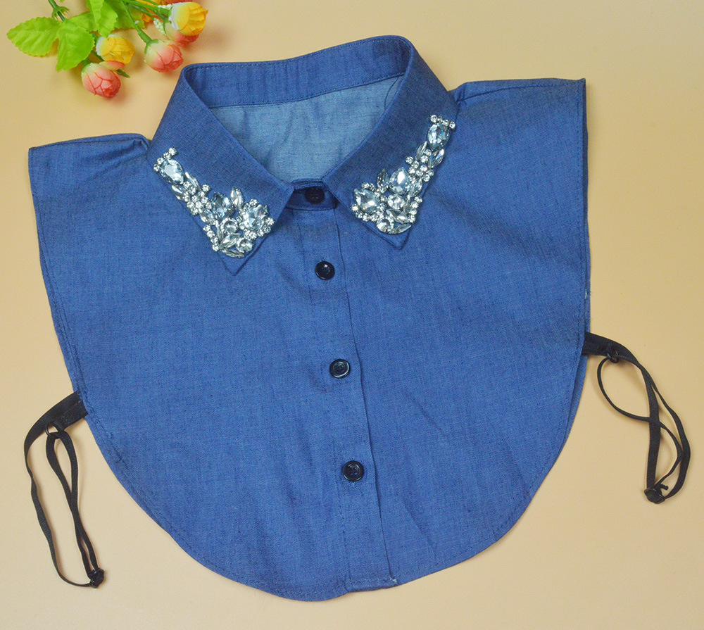 2015 false collar Korean Spring decorative collar shirt collar fake collar  wild lace crystal flower sweater work office lady 86c9e2d00d25
