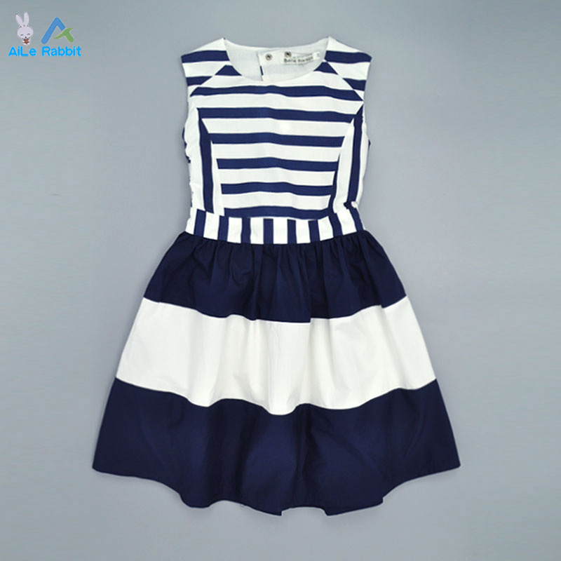 AiLe Rabbit Military Style Brand Girls Dress 2016 Summer Dress Girls Navy Wind Back Hollow Out