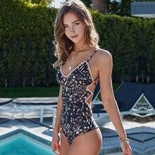 2019 Sexy One Piece Swimsuit Swimwear Women Print Monokini Vintage Bodysuit Blue Floral Beach Wear Bathing Suit Female Lace Mesh