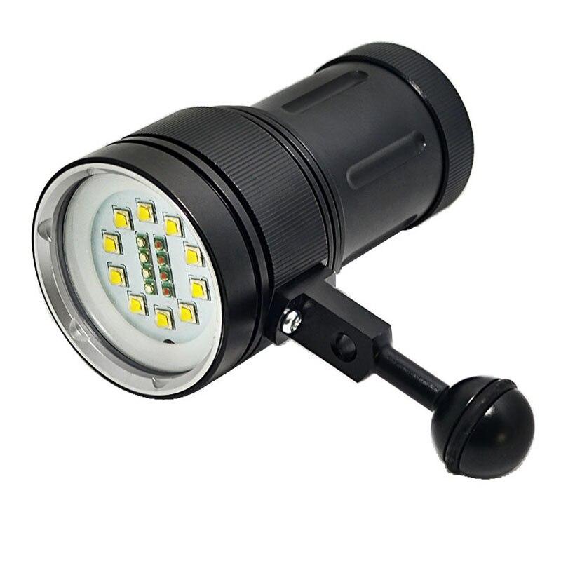 Nouveau 12000lm 10x xm-l2 + 4x rouge + 4x bleu led plongée sous-marine lampe de poche photographie la lumière sous-marine lampe de poche torche diver lampe