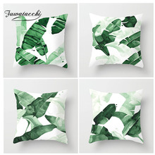 Fuwatacchi Green Leaf Cushion Cover Ink Painting Pillow for Decor Bedroom Sofa Car Home Decoration Pillowcases