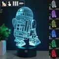 Obter um free controle remoto lâmpada de star wars 3d visual levou Luzes da noite para Crianças R2-D2 USB Toque Lampe Mesa Bebê Dormindo Nightligh