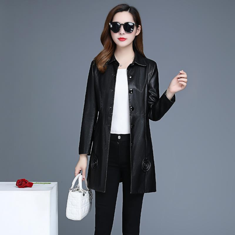 XL-6XL Plus Size Women   Leather   Jacket 2019 New Fashion Turn Collar Single-breasted Female   Leather   Coat High Quality