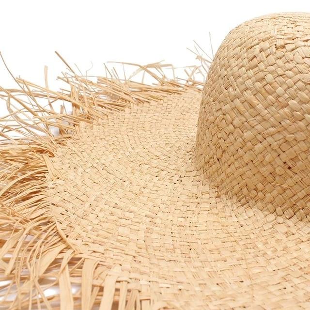 NEW Handmade Women Straw Sun Hats Large Wide Brim Gilrs High Quality Natural Raffia Panama Beach Straw Sun Caps For Holiday 3