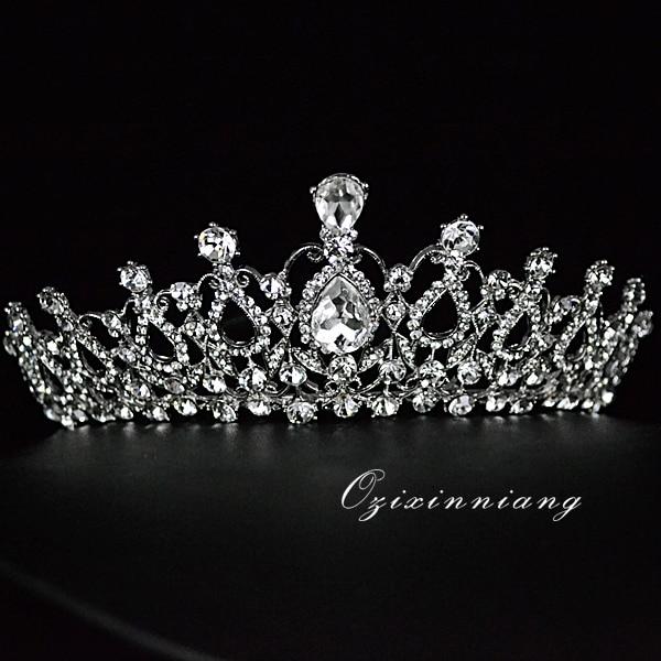 Rental bride wedding crown crystal rhinestone export luxury temperament Korean super flash was the goddess Fan