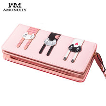 AMONCHY Fashion Panelled Women Wallets High Quality Female Long Wallet Cute Cartoon Cats Clutch Purse Girls Zipper Card Holders