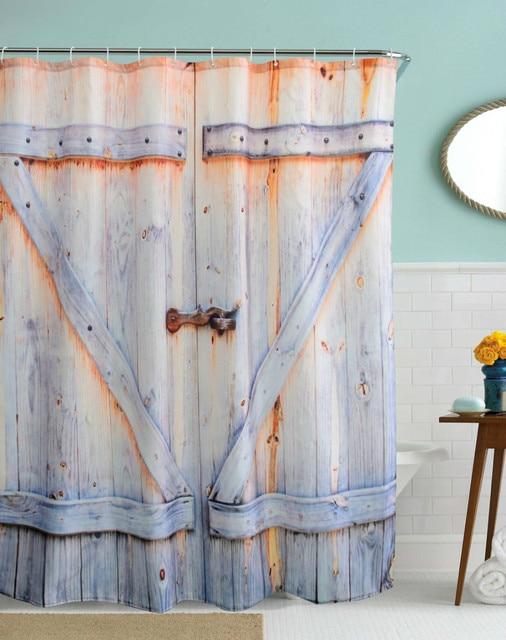 3d vintage badkamer douchegordijnen waterdicht polyester hout deur bad gordijnen haken rideau de douche amerikaanse