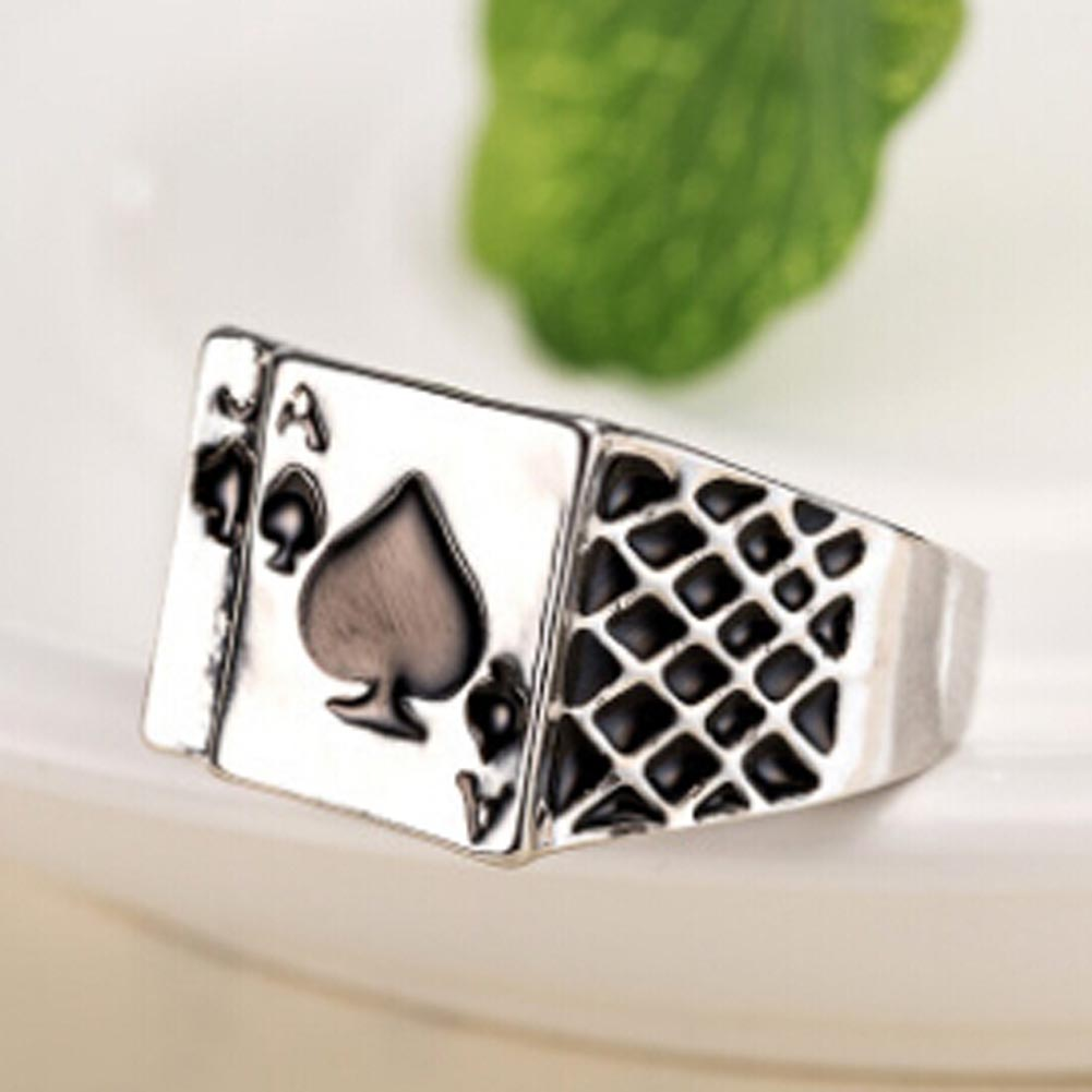 2018 4 sizes New Arrival Mens Black Enamel Spades Poker Ring Finger Jewelry high quality Fashion
