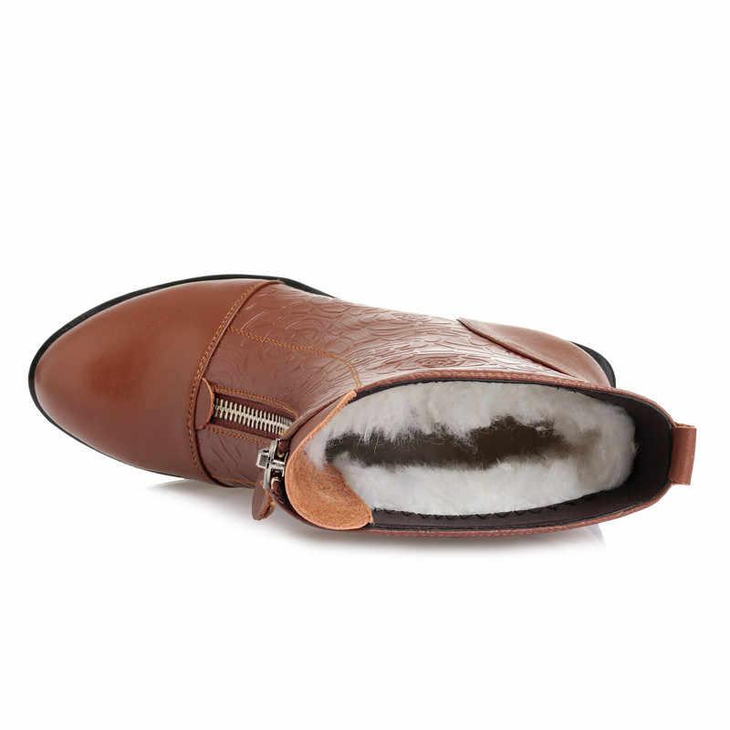 MoonMeek moda kış yarım çizmeler kadın yuvarlak ayak zip hakiki deri çizmeler kare topuk tutmak sıcak yün kar botları kadın
