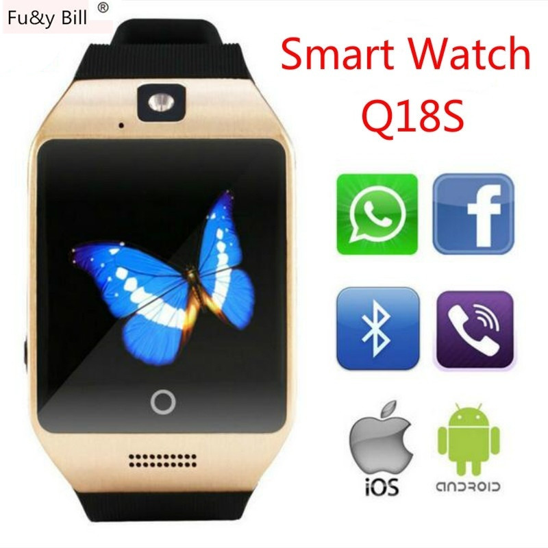 New Fashion Q18S Curved Screen Bluetooth Smart Watches NFC Function Passometer SIM Card Intelligent Monitoring Movement Watch
