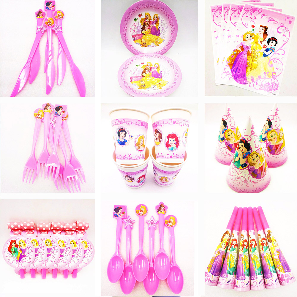 Disney Three Priness Kids Birthday Queen Movie Baby Party Decorations Caps Napkins Girl Supplies Decoration In Disposable Tableware