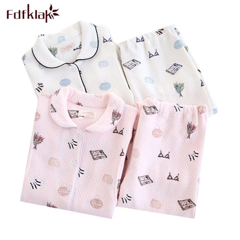Fdfklak Autumn Winter Maternity Clothes Long Sleeve Cotton Pregnancy Pajamas Sleepwear for Pregnant Women Nursing Pyjama Suit