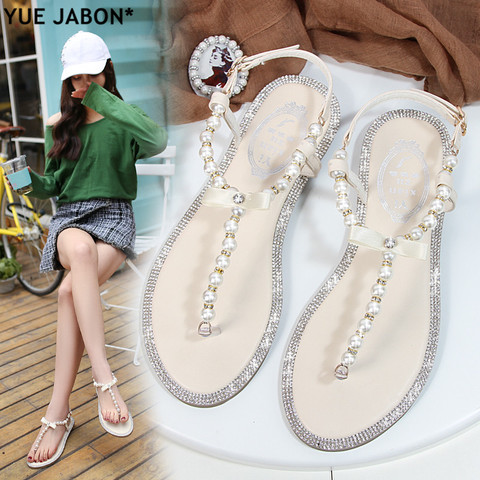 Women sandals 2018 new summer shoes flat pearl sandals comfortable string bead beach slippers casual sandals pink white black Pakistan