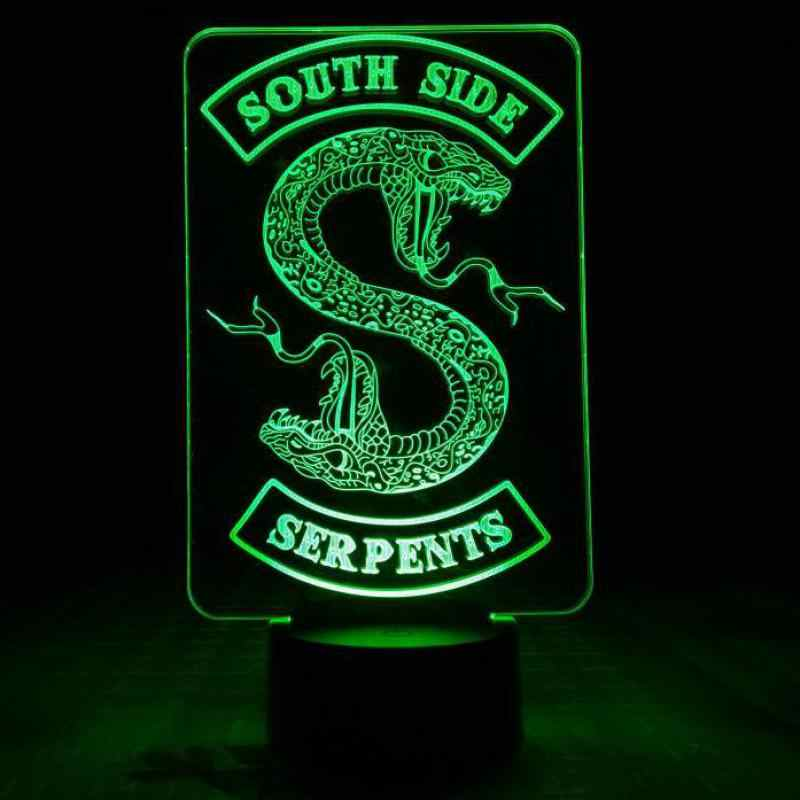 Badges Riverdale Snake Logo Night Light LED Southside Serpents Decor Sign Things Riverdale Accessories Gift Table Lamp Bedroom