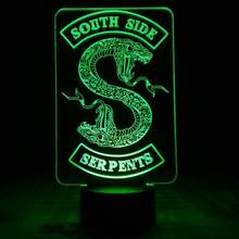 Badges Riverdale Snake Logo Night Light LED Southside Serpents Decor Sign Things Riverdale Accessories Gift Table Lamp Bedroom(China)