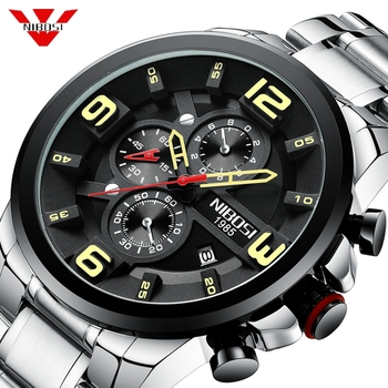 NIBOSI 2019 New Mens Watches Top Brand Luxury Sport Waterproof Watch Men Stainless Steel Military Bigdial Chronograph Wristwatch