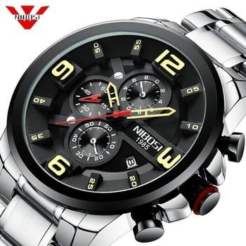 NIBOSI 2019 New Mens Watches Top Brand Luxury Sport Waterproof Watch Men Stainless Steel Military Bigdial Chronograph Wristwatch