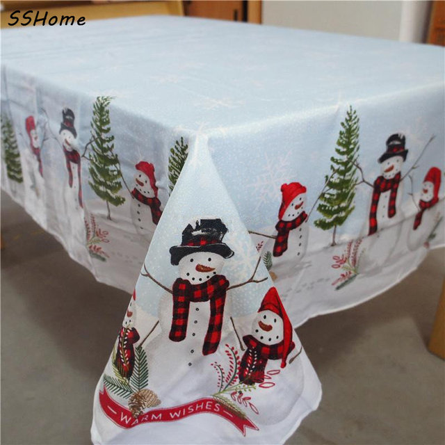 st nicholas square snowman christmas tablecloths european style 152x213cm coffee table covers cloth decorations for - Square Christmas Tablecloth