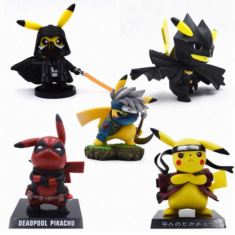 5 Styles Anime Pikachu Cosplay Deadpool Batman Darth Vader Naruto Kakashi PVC Action Figure Doll Collection Model Christmas Toy