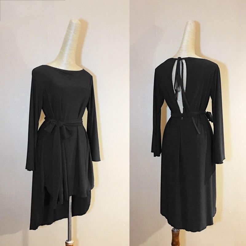 Robe de danse latine Sexy noir lâche à manches longues femmes Cha Cha Samba Costumes salle de bal danse robes Latin pratique porter DN1139