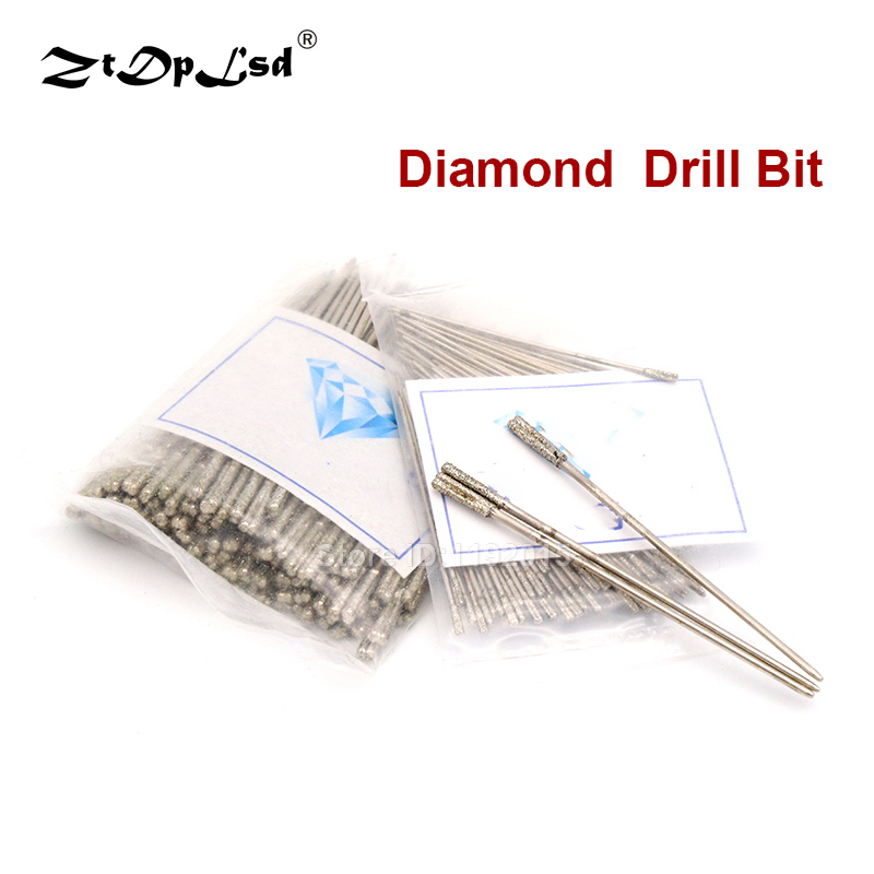20pcs 1-2.4mm Drill Diamond Coated Solid For Dremel Rotary Tools Punch Needle Jewelry Ceramic Jade Agate Glass Amber 20000 Rpm